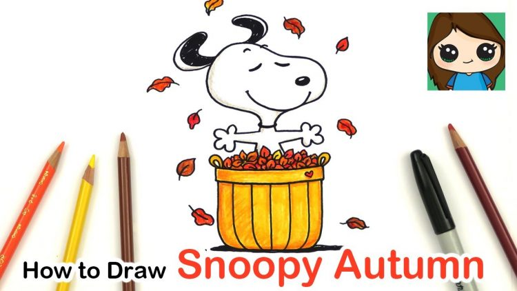 How To Draw And Color Snoopy Easy Autumn Leaves
