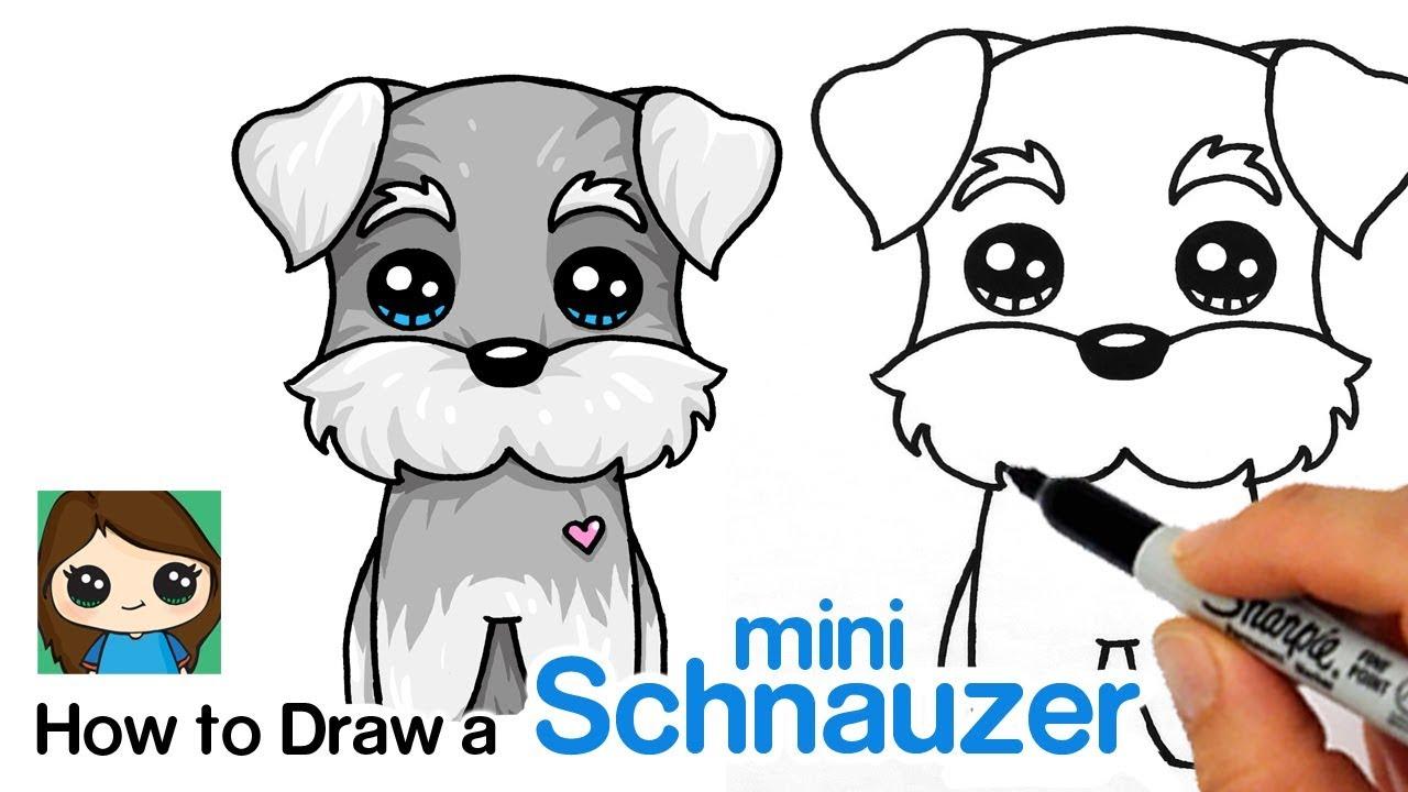 How To Draw A Miniature Schnauzer Puppy Easy Cartoon Dog