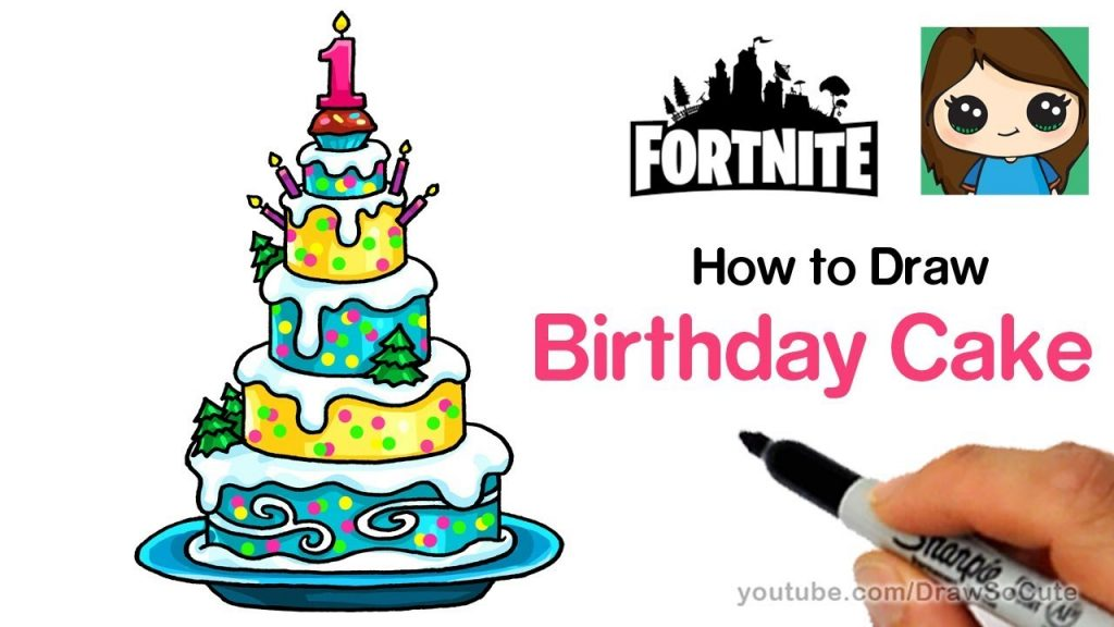 Brilliant How To Draw The Fortnite Birthday Cake Easy Funny Birthday Cards Online Alyptdamsfinfo