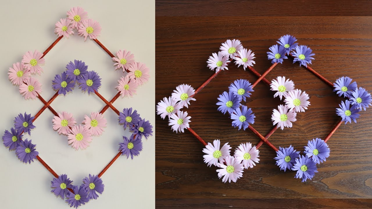 Paper Flower Wall Decoration - DIY Wall Decor ideas - Paper Craft