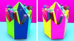 Simple pen holder origami folding instructions – life hack | 133x236