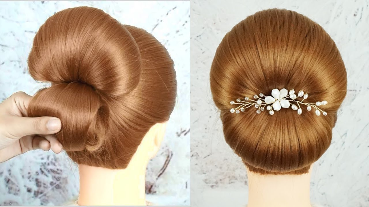 Simple Bun Hairstyle For Wedding Or Party - Easy Bridal Hair