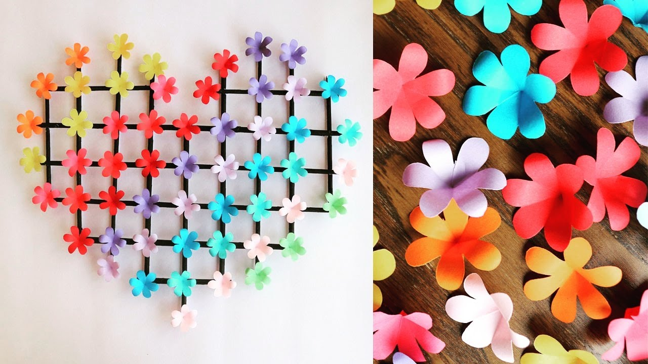 Paper Flower Wall Hanging- Easy Wall Decoration Ideas - Paper