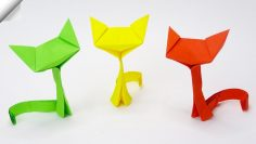 3d origami for kids: origami cat instructions | 133x236