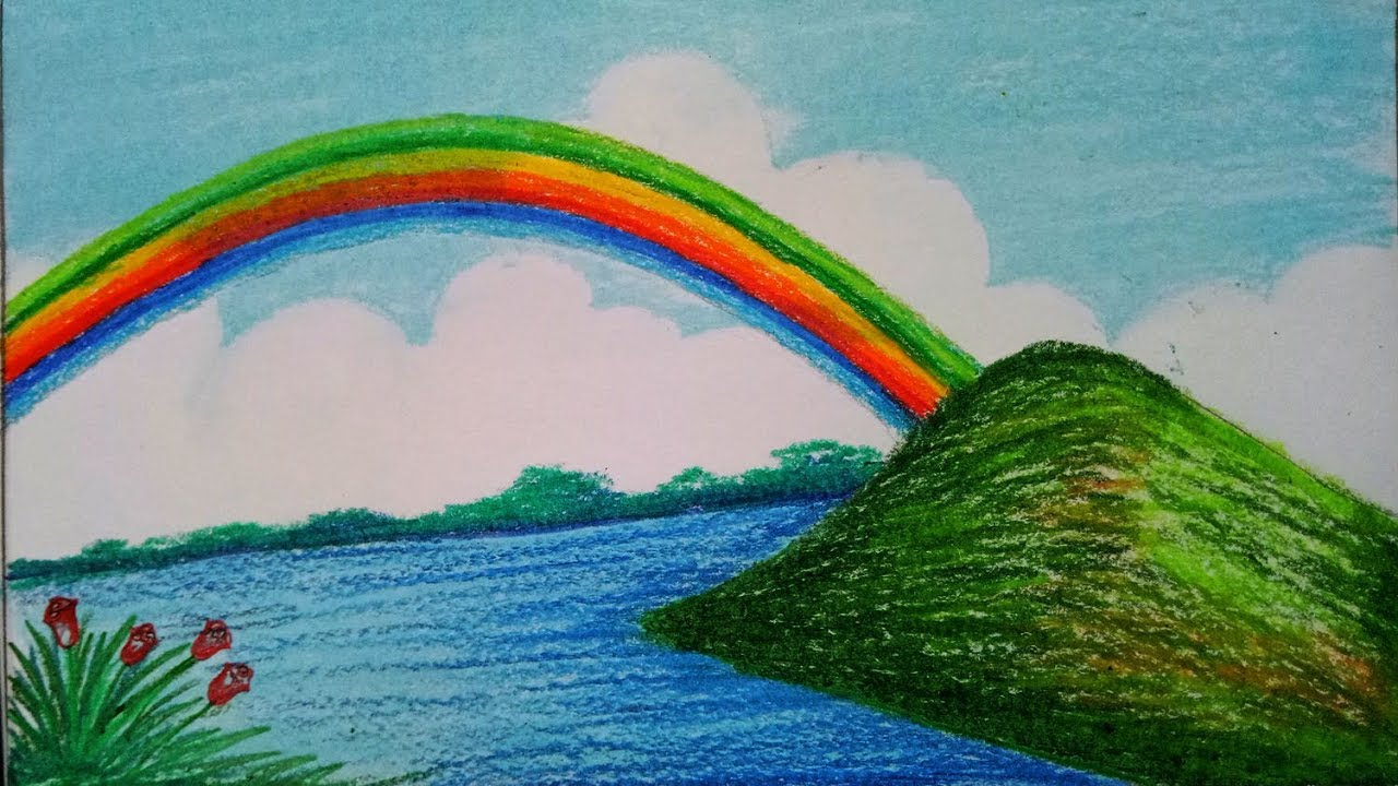 How To Draw Beautiful Scenery With Rainbow Step By Step Easy Draw