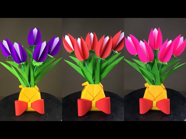 DIY Tissue Paper Flowers with leaves and Flower Pot - YouTube | 480x640