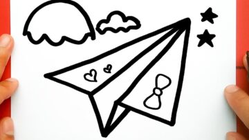 paper airplane drawing cute