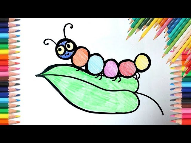 Easy Caterpillar Drawing And Coloring For Kids Step By Step