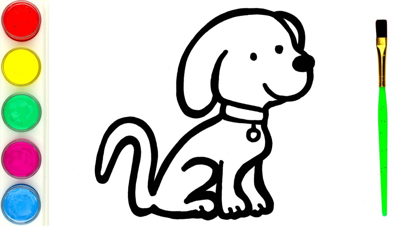 How to Draw a Cute Puppy for kids   Simple animals drawing ...