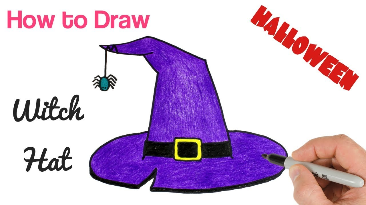 How to Draw a Witch Hat | Halloween Drawings step by step