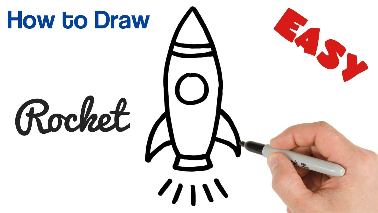 How to Draw a Rocket Cartoon drawings for kids step by ...