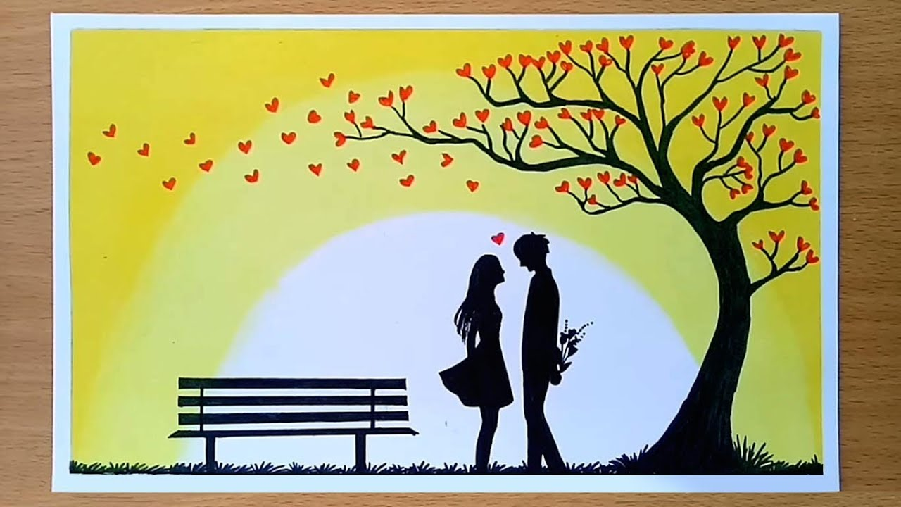 How To Draw Romantic Couple Under Love Tree Valentine S Day Drawing