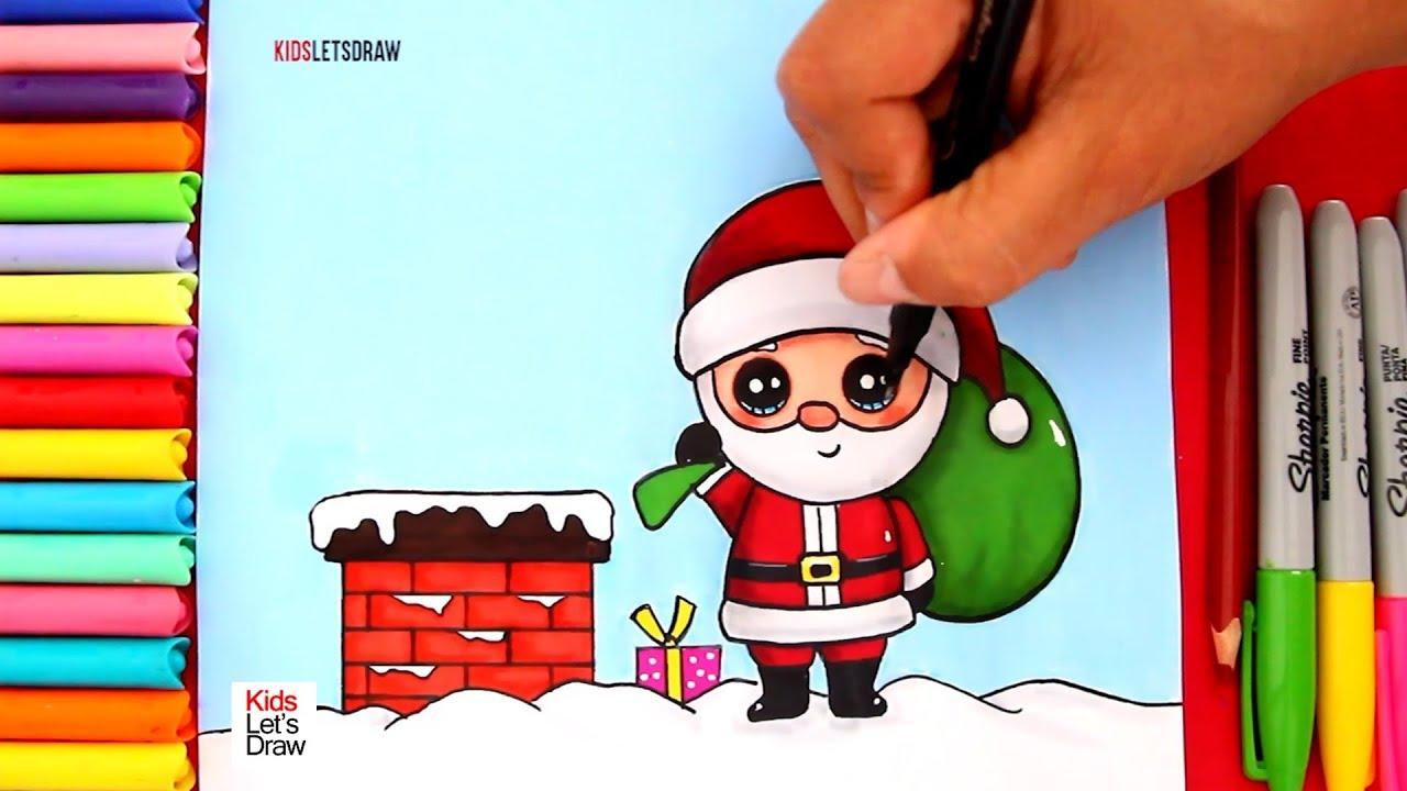 Dibujos De Paisajes Navideños 02 Papá Noel Estilo Kawaii En La Chimenea Con Los Regalos