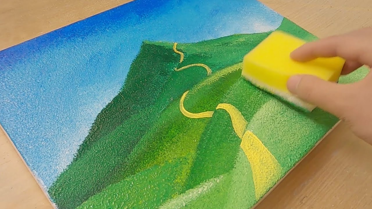 Sponge Painting Technique Layered Hills Landscape Painting Easy Creative Art